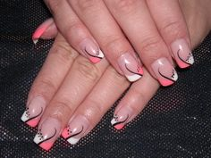 White and Pink French Manicure with Black Lines and Dots  - Sweet French manicure.jpg