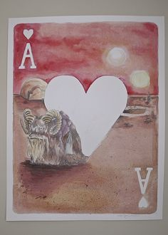 Ace of Hearts, Bantha (watercolor, ink & graphite) by Ashley Villers