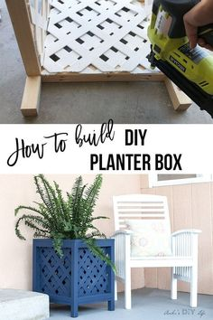 This easy DIY Planter box is so pretty! Also, very cheap to make! Perfect for indoors or outdoor! I think my patio needs this! SO perfect and pretty! # Easy DIY outdoor DIY Lattice Planter Box - Easy DIY Planter Box Using Vinyl Lattice