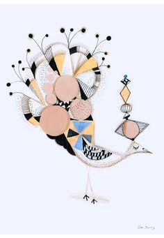 Bird Elegance, 30 x 43cm. kr150,00, via Etsy.    Så fine illustrationer <3