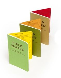 """Field Notes Shenandoah -- Field Notes' 3-pack """"Fall limited-edition seasonal release, """"The Shenandoah Edition"""" features three green French cover stocks that match the leaf color of three trees found at Shenandoah National Park: the Sweet Birch, the Chestnut Oak, and the Red Maple."""" Each 48-page memo book has a leaf illustration and some tree facts on the back cover."""