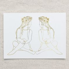 #Zodiac #Gemini Twins #Foil Print by PlatinumJungle on Etsy