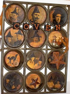 Altered Art Vintage Muffin Tin Halloween Coven by paintedpony99