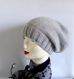 Women knit slouchy  beanie hat  Slouch Beanie by recyclingroom, $28.00
