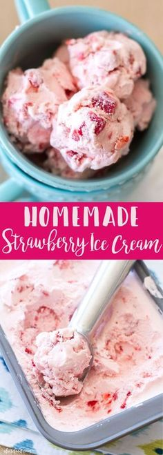 This Homemade Strawberry Ice Cream is creamy, dreamy, and made with fresh strawberries. It is so delicious and is the perfect summer ice cream! Homemade strawberry ice cream with real strawberries is to die for! Ice Cream Desserts, Mini Desserts, Frozen Desserts, Frozen Treats, Homemade Strawberry Ice Cream, Homemade Heavy Cream, Homemade Ice Cream Machine, Homemade Coconut Ice Cream, Homemade Vanilla