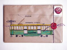Mail art sent to a blog reader (she's a Melbourne girl who lives in Germany, so I painted a Melbourne tram)