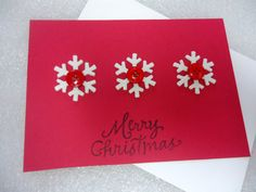 Handmade Red Christmas Stamped Blank Card by ChicEventsDecor