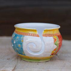 Hand Made Pottery Yarn Bowl  Knitting Bowl Ready to Ship