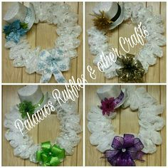 Winter wreaths.  Very cute and elegant.  Perfect home decoration to live on all winter long.  Decorate your door, window, wall, etc. Comes with battery operated lights and your choice of color for the ribbon.  #decomesh #wreath #snowman #winter #Christmas #gift #homedeco