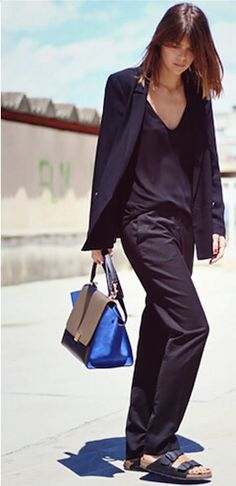 Tailored trousers with Birkenstocks