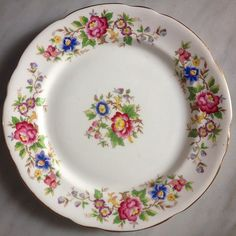 """Vintage Breakfast Plate (diameter 21cm) by Royal Stafford """"Rochester"""" made in England"""