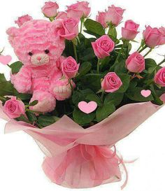 Pink rose bouquet with pink teddy bear