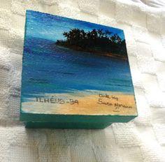caixinha pintada com paisagem de Ilhéus