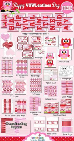 FREE VALENTINE'S DAY PRINTABLES from this Owl Themed Valentine's Day Party with SUCH CUTE IDEAS via Kara's Party Ideas Kara Allen KarasPartyIdeas.com #owlparty #owlprintables #valent...