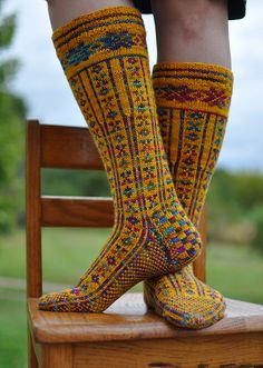Norwegian Stockings - Mine will be cream where these are multi and multi where these are yellow.