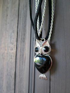 Silver Owl Necklace, Black R... from WillysJewels on Wanelo