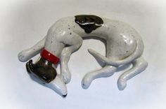 "Greyhound Whippet Galgo Clay Sculpture Figurine White and Brindle ""Sadie"""