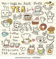 Set of Tea and Coffee Doodle - ซื้อเว็กเตอร์นี้ใน Shutterstock แล้วค้นหาภาพอื่น ๆ
