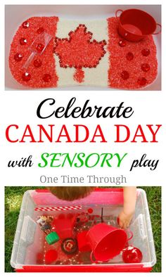 Celebrate Canada Day Sensory Bins: Canadian Flag Rice Bin & Canadian Symbols Sink or Float Activity.  {One Time Through} #CanadaDay #kids