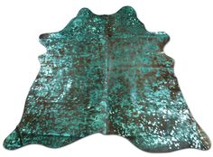 Turquoise Metallic Cowhide Rug Acid washed on brown Size 5' X 5.3' ft i-246 by Cowhidesusa on Etsy