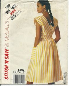 McCalls 6489 Stitch 'N Save Misses Wrap Apron Dress Vintage 1987 Sewing Pattern Misses Sizes 12 14 16 Uncut Factory Folded by SodaCityFinds on Etsy
