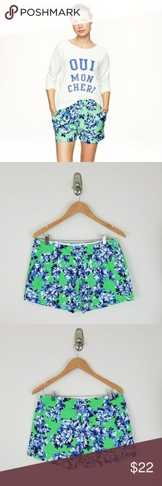 J Crew Cotton Linen Shorts J Crew Factory Cotton Linen Shorts. Green floral. Side pockets. Back slit pockets. Flat front. Side zip. Pleated. Size 28/6.  EUC  Waist 16.5 Rise 10 Inseam 3  No trade or P.P. Reasonable offers considered Bundle Discount J. Crew Factory Shorts