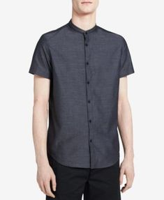 CALVIN KLEIN Calvin Klein Men'S Classic-Fit Band-Collar Shirt. #calvinklein #cloth #down shirts