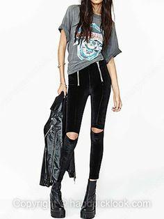Black Zip Embellished Skinny Pant -$31.49