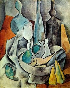 """Pablo Picasso - """"Fish and bottles"""", 1908"""