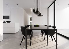 This clean interior design of a detached house in Warsaw .- Dieses saubere Innendesign eines Einfamilienhauses in Warschau von Tamizo Archit… This clean interior design of a detached house in Warsaw by Tamizo Architects … - White House Interior, Modern Interior Design, Kitchen Interior, Contemporary Interior, Modern Decor, Luxury Dining Room, Dining Room Design, Design Kitchen, Tamizo Architects