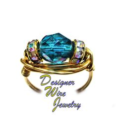 DWJ0663 Gorgeous Teal Iris Luster Czech Art Glass Solitaire Gold Wire Wrap Ring All Sizes
