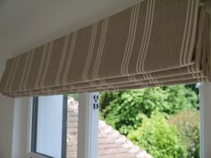 Ian Mankin stripes for a bedroom - roman blind hand made by Victoria Clark Interiors. Roman Blinds, Curtains With Blinds, Bedroom Curtains, Window Coverings, Window Treatments, Blinds Inspiration, Window Furniture, English Interior, London Townhouse