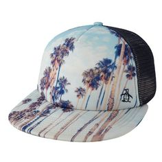 Original Penguin 'Printed Scene' Snapback Trucker Hat ($30) ❤ liked on Polyvore featuring men's fashion, men's accessories, men's hats, dark denim, mens beach hat, mens snapback hats and mens mesh hats