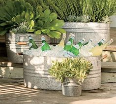 Galvanized planter used as cold beverage cooler. Clever!