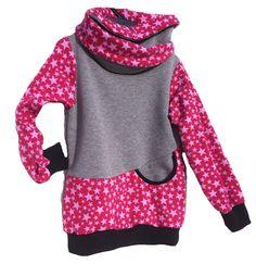 Sweat Shirt pink rosa Sterne grau mit Wickelkragen Mädchen Pullover Größe 110 3-5 Jahre von Wollsofa auf Etsy