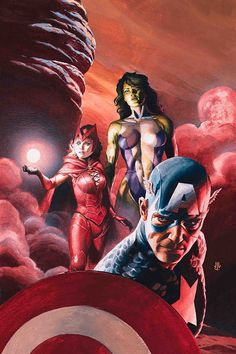 Captain America, Scarlet Witch & She-Hulk by J.G. Jones #XMen #Avengers #Mutants