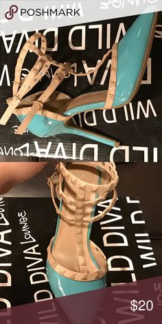 Wild Diva Aqua/beige Stiletto Worn only once for about an hour. Brand New and in excellent condition! Wild Diva Shoes Heels