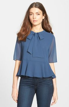 1.State Ruffle Hem Tie Neck Blouse available at #Nordstrom