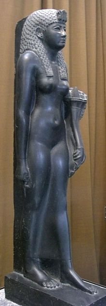 Statue of Cleopatra as Egyptian goddess; Basalt, second half of the first century BC. Hermitage, Saint Petersburg