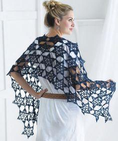 "Starry Night Wrap by Kristin Omdahl, published in ""Crochet So Fine""."