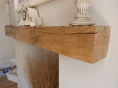 Complete your fireplace with a stunning solid oak fireplace beam supplied by Traditional Beams. Floating Fireplace Mantel, Oak Mantle, Fireplace Beam, Wooden Mantle, Wooden Beam, Mantle Shelf, Wood Shelf, Empty Fireplace Ideas, Rustic Mantel