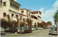 Worth Avenue Palm Beach Florida Old Autos Vintage Postcard