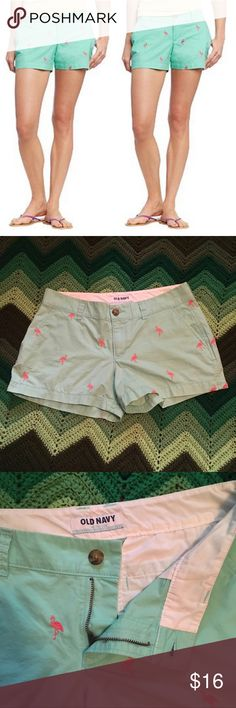 "Old Navy chino shorts w/embroidered flamingos 💗 Old Navy favorite! Chino shorts with embroidered flamingos. Features button and zipper closure, pockets, and belt loops. Flattering style with 3"" inseam. Beautiful shades of soft green and pink match well with Lilly Pulitzer! Excellent used condition. Size 4. Measures approximately 15.5"" waist, 10.5"" waist to hem"" 💗💗💗 THANK YOU for viewing my listing! Old Navy Shorts"