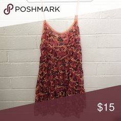 Free people intimate dress, size small. Free people chiffon dress. Lace trim and subtly see through...wear this to the beach or out on the town. Pair it with cute black boots and black tight shorts for a sexy night look. Dress color is mainly peach with dark pinks and green floral. Free People Dresses Mini