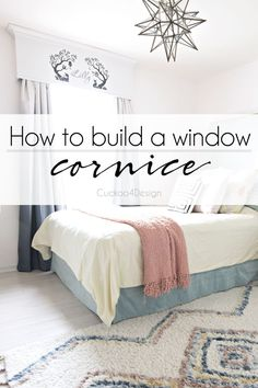 How to build a painted window cornice Window Cornice Diy, Kitchen Window Valances, Window Cornices, Window Coverings, Window Treatments, Diy Room Decor, Home Decor, Home Improvement Projects, Cozy House