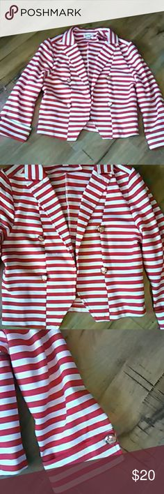 Dygarni nautical blazer  Small This gorgeous nautical striped blazer with gold buttons is absolutely stunning in person this Blazer is 18 in Long has cuffs at the sleeves with the gold buttons this Blazer is in excellent condition 65% polyester 35% spandex Dygarni Jackets & Coats Blazers