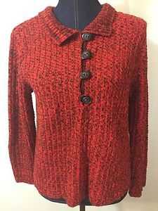 Willow Women Red Sweater Size Small Large Black Buttons Pullover | eBay
