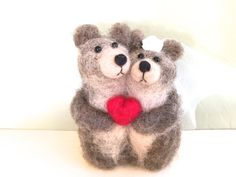 Needle felted Bear wedding cake topper bear cake by Felt4Soul