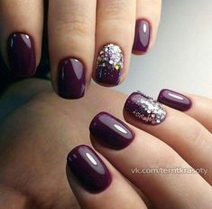22 totally classy nail designs to rock this winter 2019 Best Picture For nails winter purple For You Classy Nails, Fancy Nails, Trendy Nails, Pink Nails, Dark Purple Nails, Red Toenails, Maroon Nails, Sparkle Nails, Classy Nail Designs