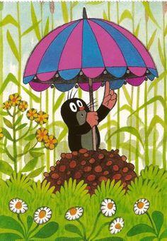 Le petit Taupek, personnage celebre des films animés tcheques d´apres les illustrations de Zdenek Miler. Preschool Education, Teaching Kindergarten, La Petite Taupe, Projects For Kids, Art Projects, Illustrations, Illustration Art, Going To Rain, Film